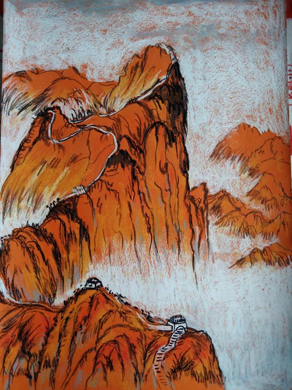 重彩油画棒之山水作品,附步骤图