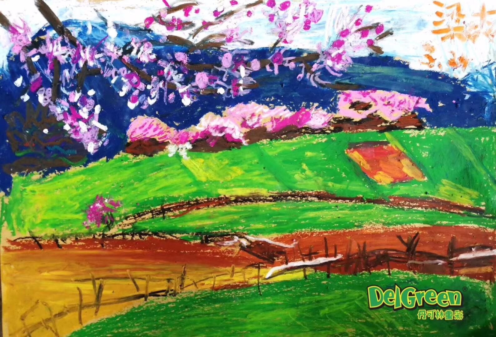 重彩油画棒作品__小孩子眼中的春天